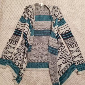 Say What? Black, Blue, Gray Patterned Cardigan (S)